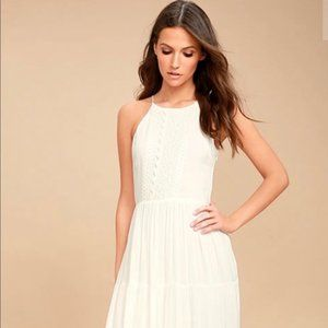 Lulus For Life White Embroidered Maxi Size M